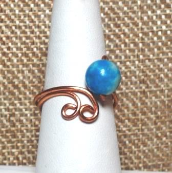 Blue Jasper Scroll Ring