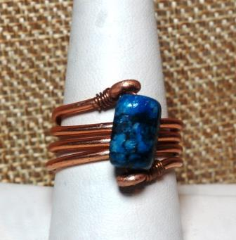 Copper Colored & Blue Stone Ring