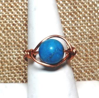 Copper Ring w/ Blue Stone