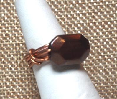 "Copper Ring w/ Brown ""Stone"""