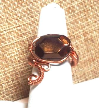"""Copper Scroll Ring w/ Brown """"Stone"""""""