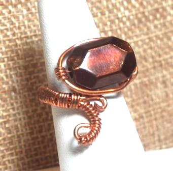 "Copper Scroll Ring w/ Brown ""Stone"""
