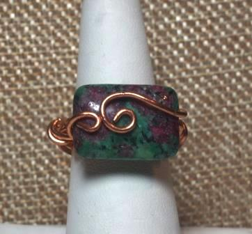 Dragons Blood Jasper and Copper Wire Wrapped Ring