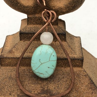 Hand Forged Copper & Simulated Turquoise Pendant