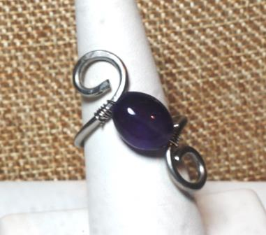 Purple Glass Bead in Stainless Ring