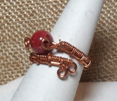 Red Agate Wire Wrapped Ring