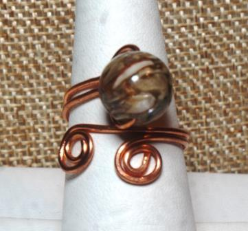 River Shell Wire Wrapped Ring