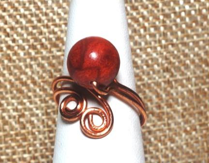 Scrolled Wire Wrapped Copper Ring