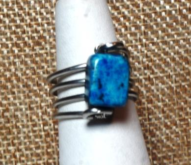 "Stainless Steel Ring w/ Blue ""Stone"""