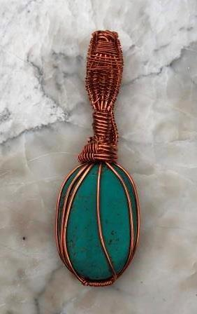 Turquoise & Copper Wire Wrapped Pendant