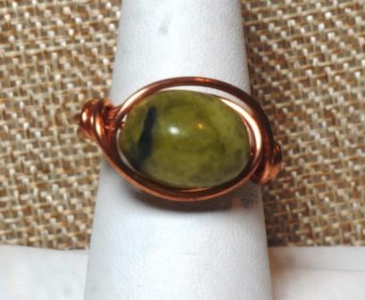 Wire Wrapped Green Stone in 100% Copper